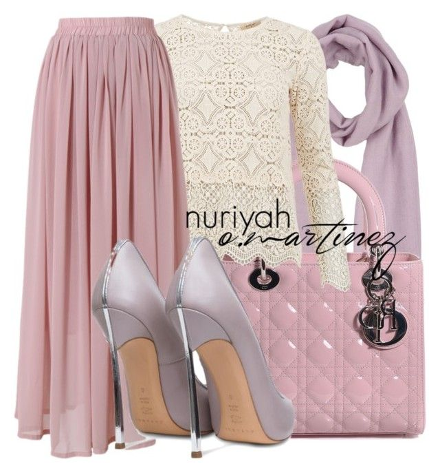 """""""Hijab Outfit #668"""" by hashtaghijab ❤ liked on Polyvore featuring Blue Les Copains, Christian Dior, BA&SH, Chicwish, Casadei and hijab"""
