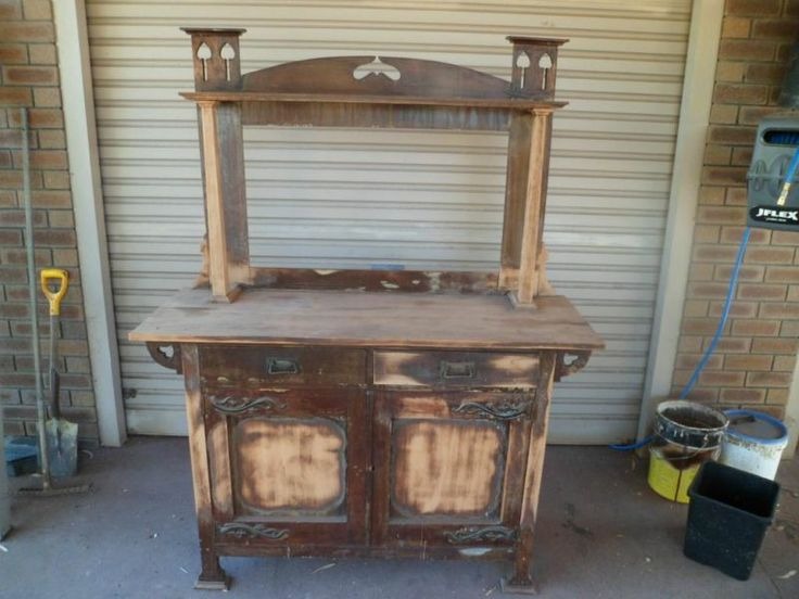 Various authentic, rustic farm antique furniture pieces to display items, available when hiring Treenridge, Pemberton, as a venue.
