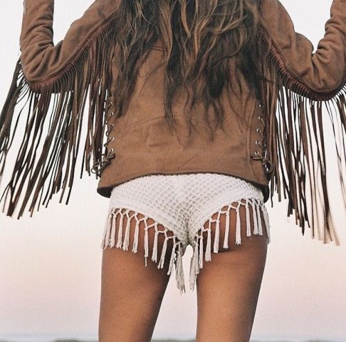 Sexy gypsy boho chic fringe boy shorts with modern hippie leather fringe jacket. For the BEST Bohemian fashion inspo FOLLOW https://www.pinterest.com/happygolicky/the-best-boho-chic-fashion-bohemian-jewelry-gypsy-/ now: