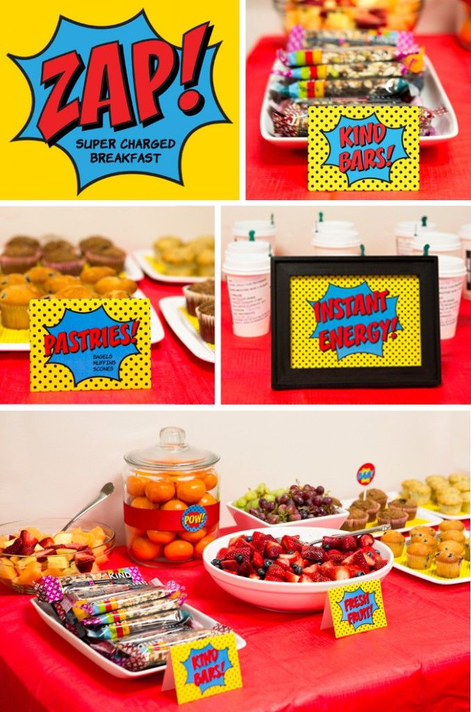 fiesta comicKids Parties, Teachers Appreciation, Appreciation Weeks, Superhero Parties, Superhero Breakfast, Superhero Staff, Super Heroes, Staff Appreciation, Superhero Theme