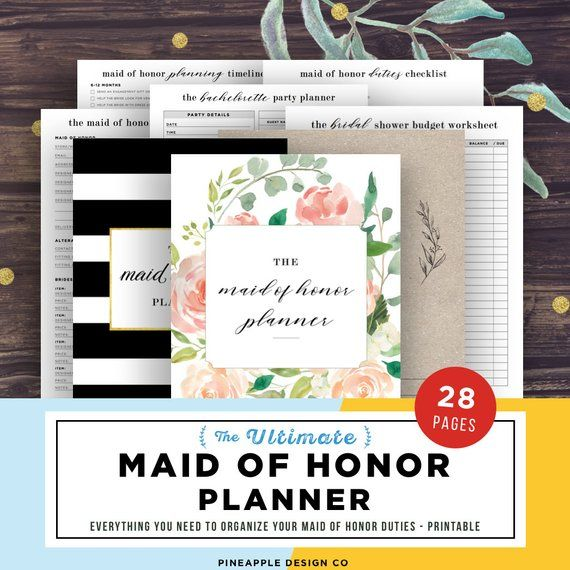graphic about Maid of Honor Printable Planner named Maid of Honor Planner, Marriage ceremony Planner Printable, Maid of