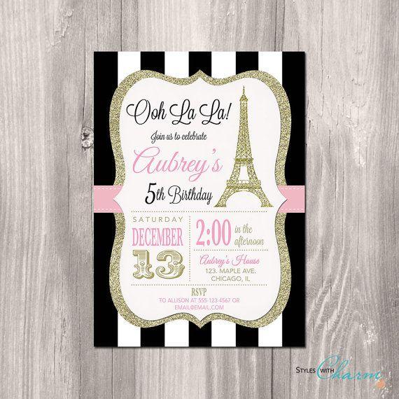 Paris Invitation, Eiffel Tower Invitation, Paris Birthday Invitation, Printable Paris Invitation, Ooh la la, French theme party, Paris Party on Etsy, $14.00