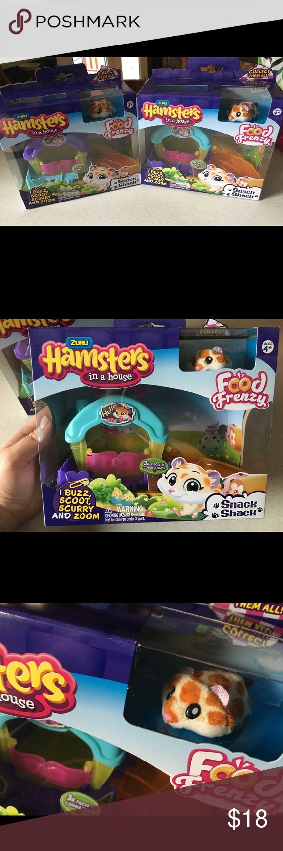 Zuru Hamsters in a house Nibbles Food Frenzy This listing is for one of the Zuru Hamsters in a house Food Frenzy featuring the cute little hamster Nibbles. In the box features Nibbles, 1 snack shack, and 3 curved tracks. Hot toy 2017. $18 each. Have 2 available. Price firm. Zuru Other