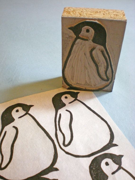 "Baby Penguin Stamp - Hand Carved Linoleum Block 2"" x 3"" - Made to Order on Etsy, $15.00"