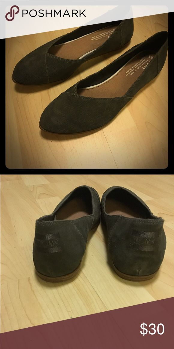 TOMS TARMAC OLIVE CHEVRON EMBSD SUEDE JUTTI FLATS NWOT. Great for work to the weekend, great alternative for when you want to be comfortable but look polished TOMS Shoes Flats & Loafers