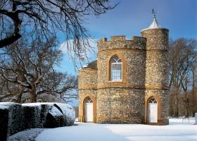 Prospect Tower in the snow - Landmark Trust Holidays, stay in a castle or some ancient property, for fun.