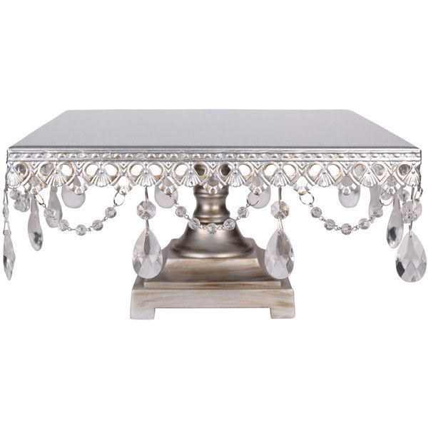Silver Square Cake Stand With Crystals 12 Inch 40