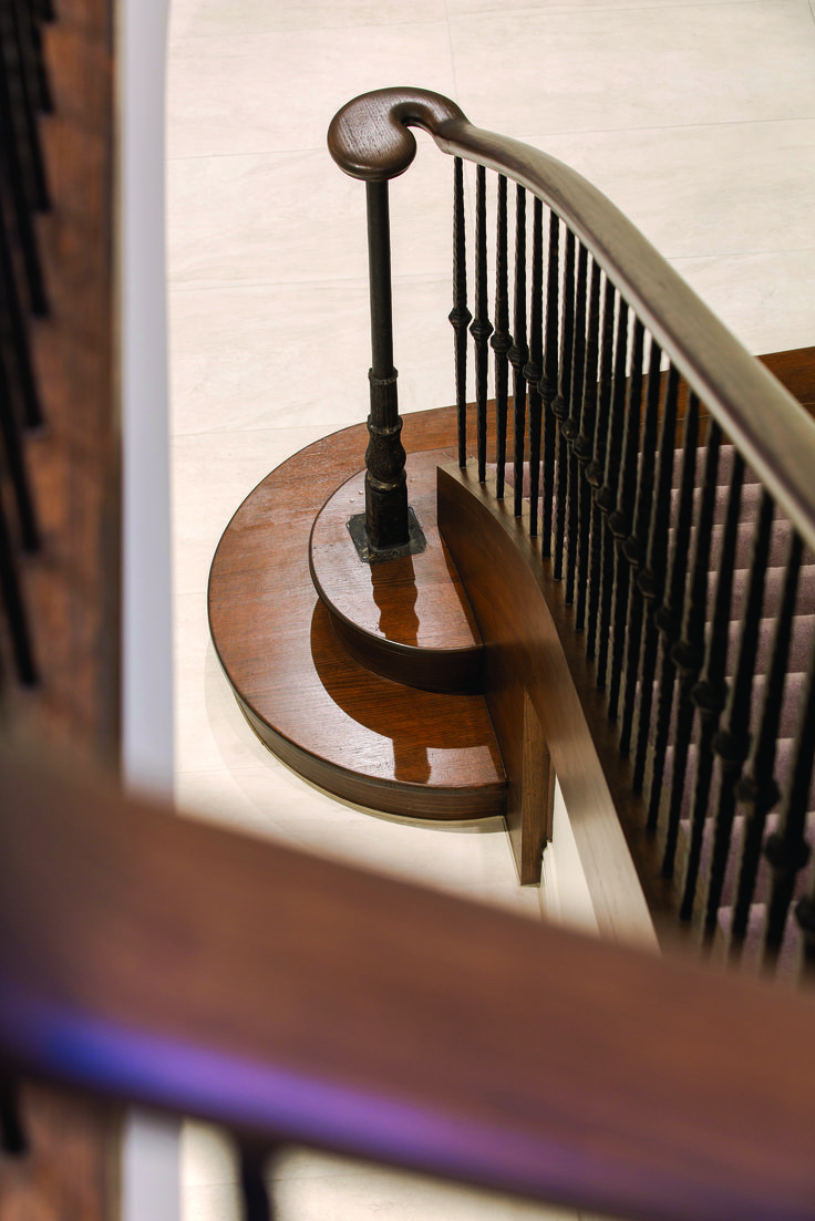 Staircase withe Featured Newel Post and Timber Finish.  Ravida- Property With Distinction