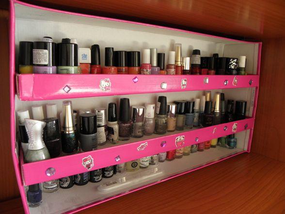 stacking shoe box lids for nailpolish storage! #smart
