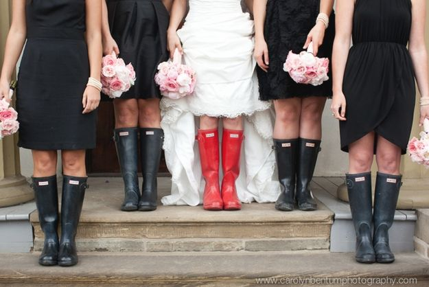 Bridesmaids in wellies? -- And these ladies who booted up: | 24 Couples Who Didn't Let Rain Ruin Their Wedding Day