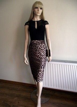 ac20e31602 Topshop pencil midi skirt with leopard print