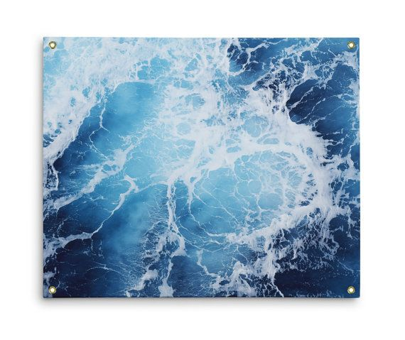 Cover that empty space on your walls with a piece of the sea when you drape from it this wall tapestry hanging, featuring a surreal and abstract blue ocean surf seascape throughout! Broken apart with white capped waves, this nautical ocean style accent comes with grommets fastened on all four corners for ease of hanging, and is available in three different sizes to choose from!    *Available in 26x36, 50x59 and 59x80 inches *Grommets included on all four corners for ease of hanging