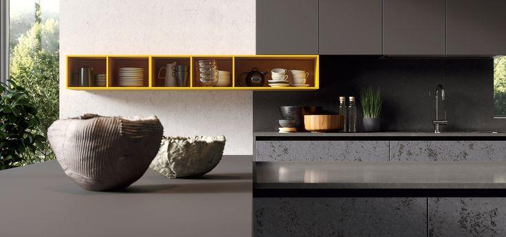Cucina Moderna - GLASS    Finitura Kerlite Grey e Opaco Vulcano | Elementi a giorno Ambra | Maniglia con sistema gola Plana  http://www.arredo3.it/cucine-moderne/cucina-moderna-glass/
