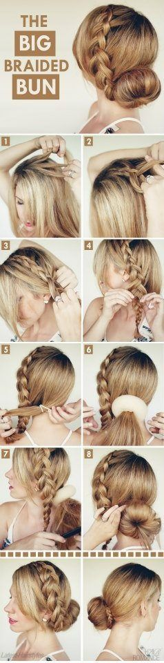 Braid and bun. Love it! You could do it more messy for a more casual look.