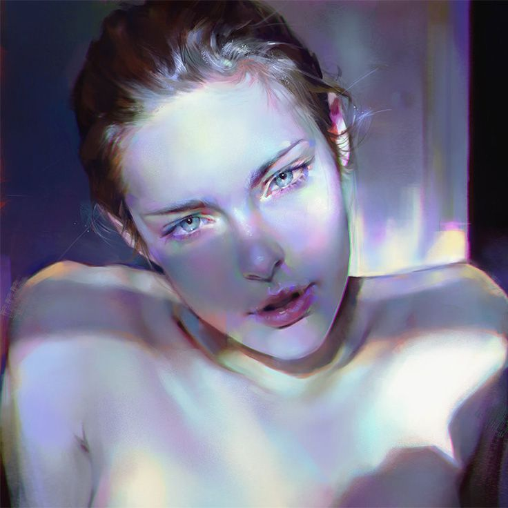 """150324"" - Yanjun Cheng, 2015 {contemporary figurative artist female head woman face portrait cropped digital painting #loveart}"
