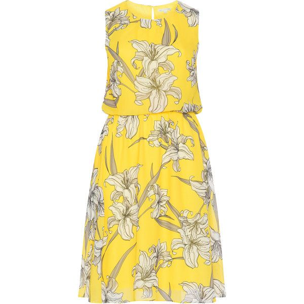 Baylis and May Yellow / White Plus Size Lily print dress (£98) ❤ liked on Polyvore featuring dresses, plus size, yellow, white cut out dress, chiffon dresses, knee length dresses, a line dress and plus size a line dresses