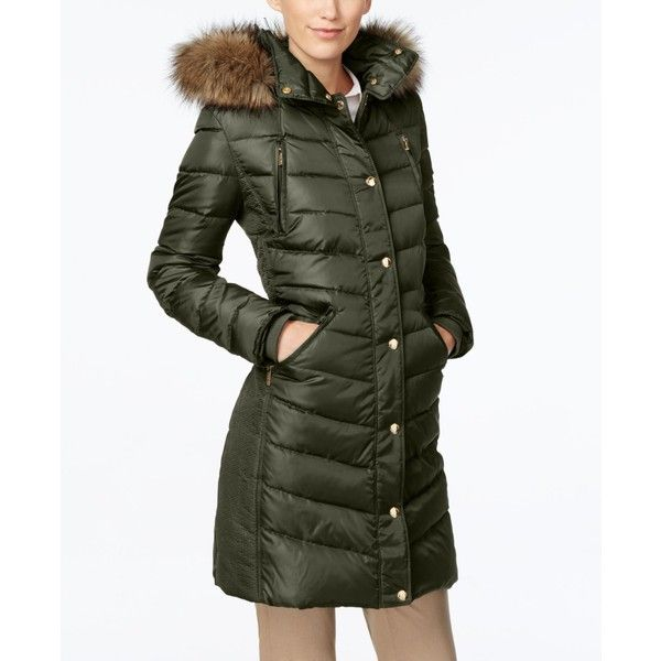 Michael Michael Kors Petite Hooded Faux-Fur-Trim Down Puffer Coat ($190) ❤ liked on Polyvore featuring outerwear, coats, dark moss, faux fur trim coats, michael kors coats, michael kors, hooded puffer coat and faux fur trim puffer coat
