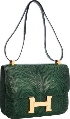 Hermes 23cm Vert Emerald Lizard Single Gusset Constance Bag withGold Hardware.