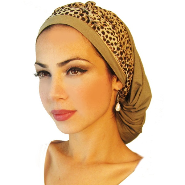 Tichel, Hair Snood, Head Scarf, Pre Tied Bandana Alternative: Gold... ($25) ❤ liked on Polyvore