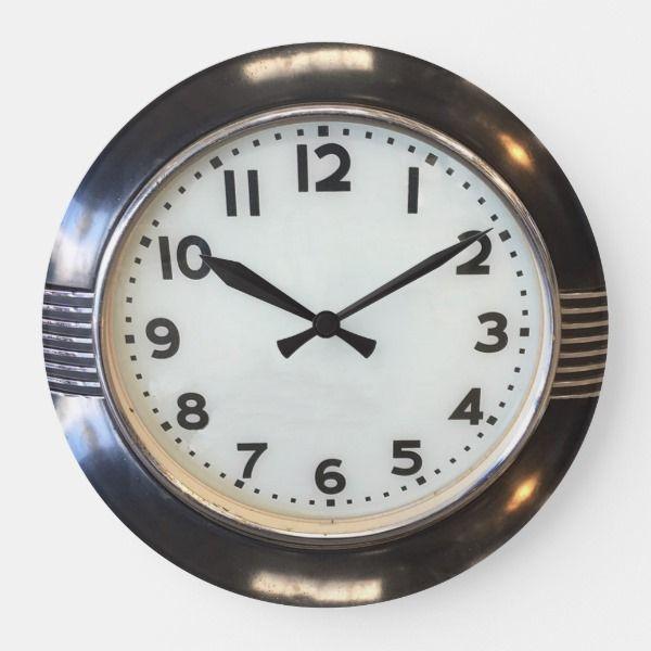 Vintage 1930 S Style Art Deco Wall Clock Zazzle Com Wall Clock Art Deco Art Deco Clock Clock Wall Art