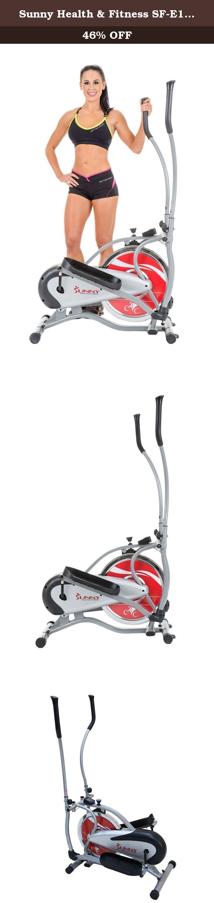 Sunny Health & Fitness SF-E1405 Flywheel Elliptical Trainer, Gray. The Sunny Health & Fitness Flywheel Elliptical Trainer delivers a great cardiovascular and lower/upper body workout; targeting arms, buttocks, quadriceps, hamstrings, and calves. Equipped with 16LBS chrome flywheel ensures a smother elliptical feel created by the continuity of the flywheel spin, resulting in a lesser stress on joints. The dual action handlebars allow swing and fixed handle positions that lets you target a...