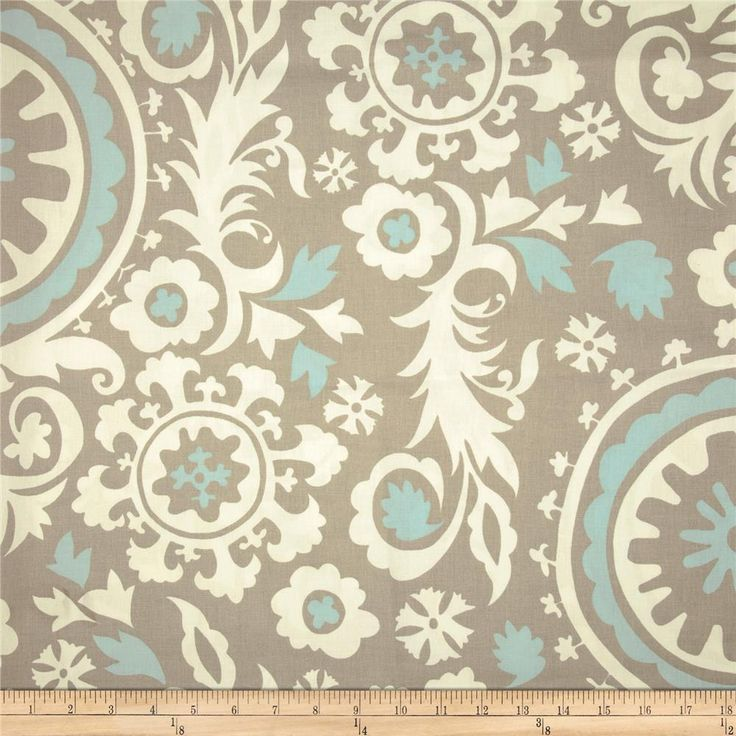 Premier Prints Suzani Powder Blue/White from @fabricdotcom  Screen printed on cotton duck; this versatile medium weight fabric is perfect for window accents (draperies, valances, curtains and swags), accent pillows, duvet covers and upholstery. Create handbags, tote bags, aprons and more. *Use cold water and mild detergent (Woolite). Drying is NOT recommended - Air Dry Only - Do not Dry Clean. Colors include powder blue, white and taupey grey.