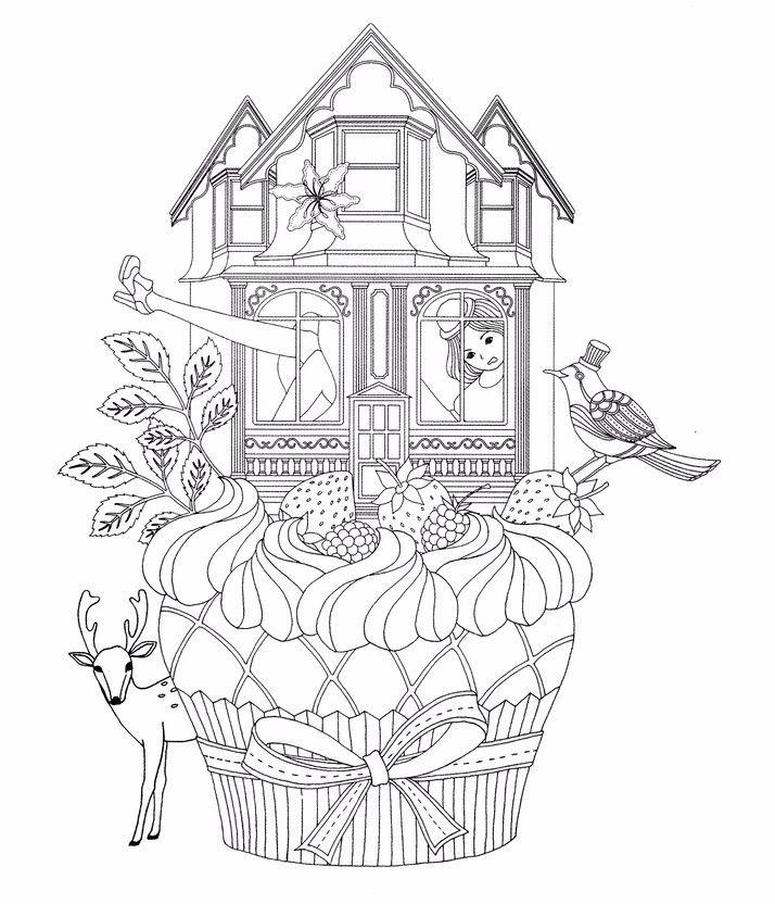 Cupcake Wonderland Adult Coloring PagesColoring BooksColouringSecret Garden