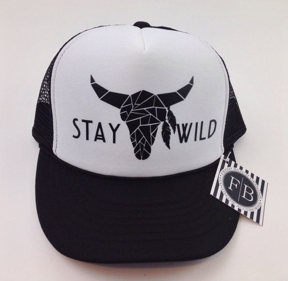 Stay Wild Trucker Hat Snapback Adjustable Black by FreshBatchDes