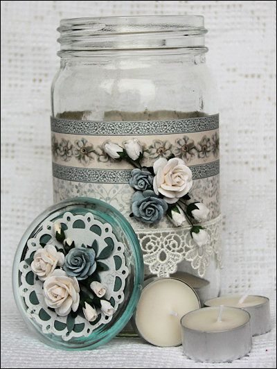 Decorated/altered mason or other jar: this is a great way to use wallpaper scraps!