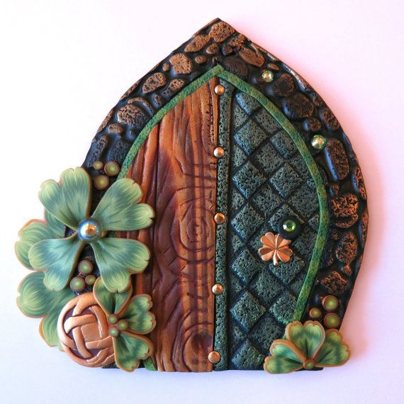 Leprechaun Gold Royal Shamrock Fairy Door, Lucky Clover Pixie Portal, St. Patrick's Day Decor