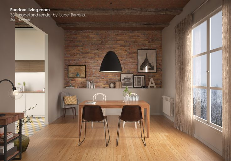 Random Living Room. 3d model + render by Isabel Barrena