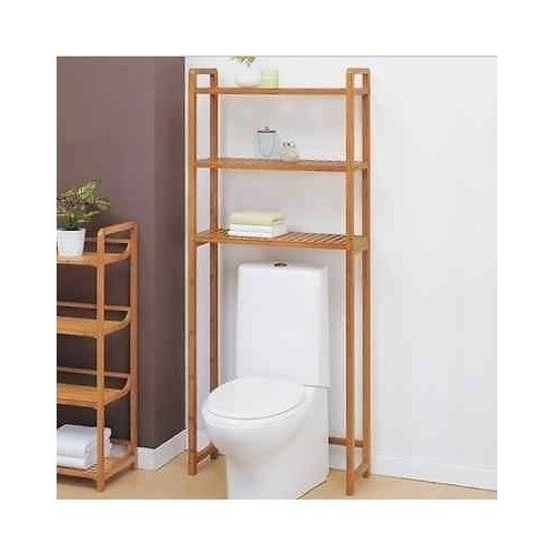Bathroom Space Saver Shelf Over The Toilet Natural Bamboo