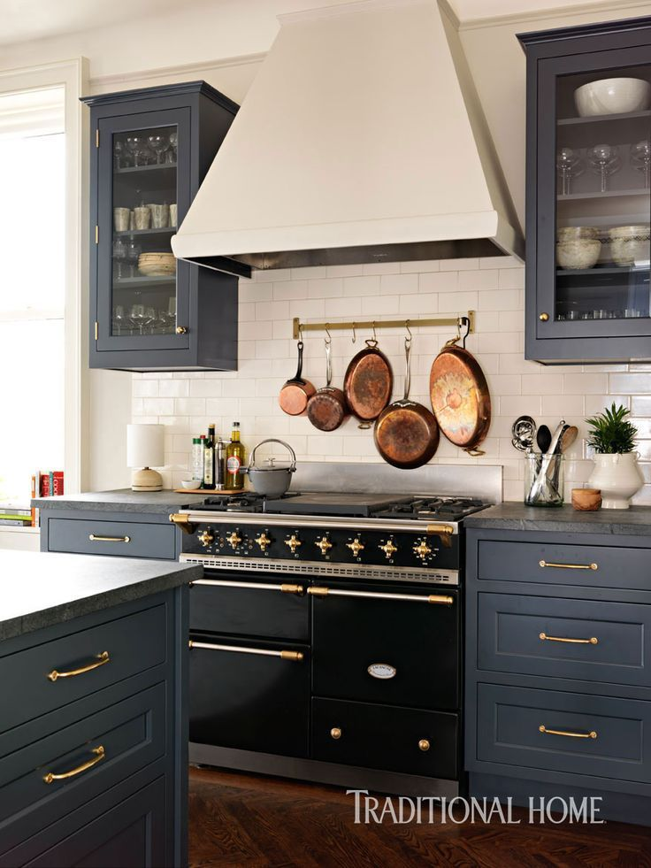 Blue Gray Cabinets Cream Walls Black Appliances Gray Counters