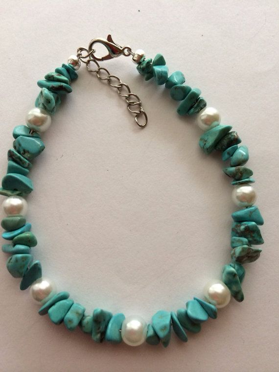 Turquoise Chip and Pearl Bracelet.