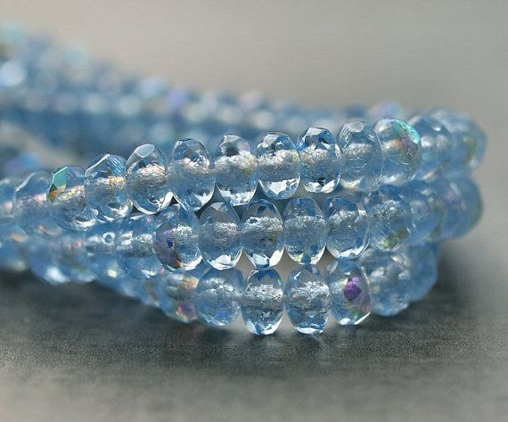 Czech Glass Bead 2x3mm Light Sapphire AB Faceted by BobbiThisnThat