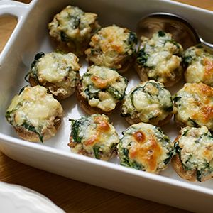 Despite looking like a bar snack, these stuffed mushrooms are 100 percent good-for-you. It's hard to believe each one has only 25 calories.