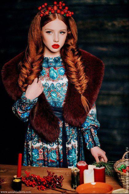 Dress a'la Russe / Платье в Русском стиле , платье из платков, стиль А-ля Русс. Ручная работа. Эксклюзив.
