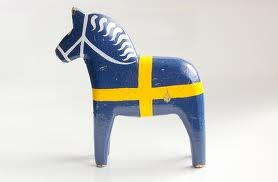 Dala Horse with Swedish Flag