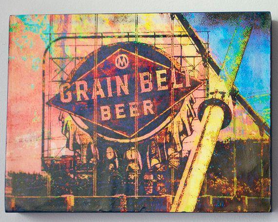 9x12 inch wood panels, Minnesota art, wall art, Minneapolis art, Grain Bell beer, Minneapolis art,