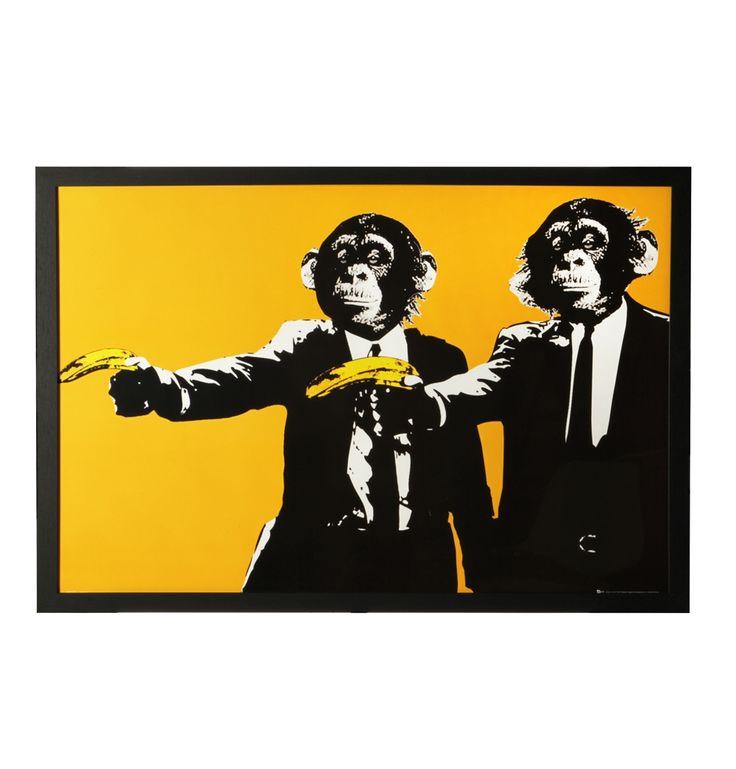monkeys bananas framed poster 66 x 96 matt blatt