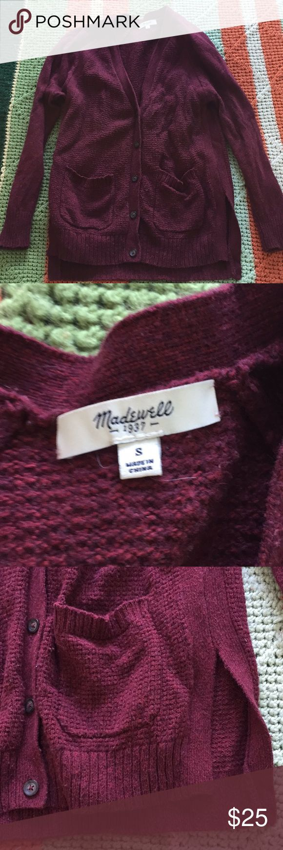 Madewell maroon cardigan Madwrll maroon cardigan. First photo is closest to true color. It's showing up a little brighter/berry in some photos but it is definitely more of a maroon on the very slightly pink side. Does have some pilling, still in good condition. Madewell Sweaters Cardigans