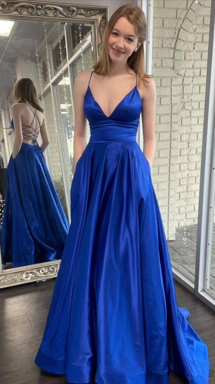 Blue satin long prom dress simple evening dress KS6902   Pinterest