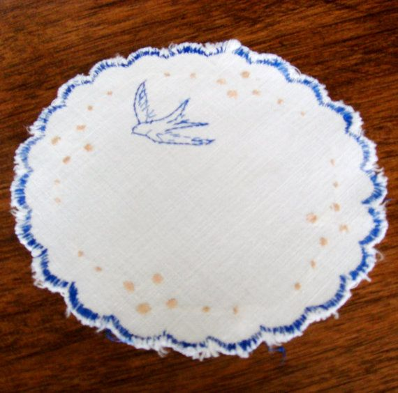 Spring Bird Embroidered Bluebird Vintage Linen, Embroidered Swallow Doily Home Decor  Love, Love, Love this little doily! It measures 5 across and
