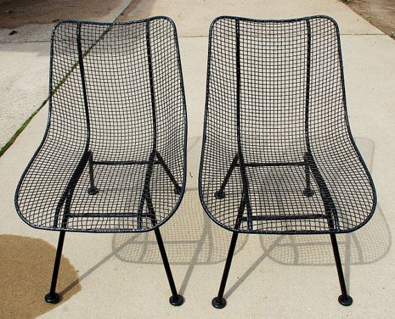 RESERVED For JENNIFER Vintage Pair Of 1950u0027s Russell Woodard Sculptura Wire  Mesh Patio Chairs