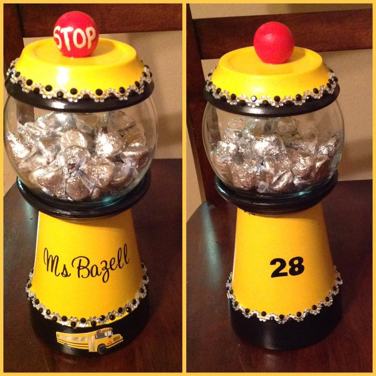 School bus driver candy jar, gum ball, gift idea