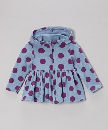 Take a look at this Blue Polka Dot Ruffle Zip-Up Hoodie - Infant, Toddler & Girls by NANO on #zulily today!