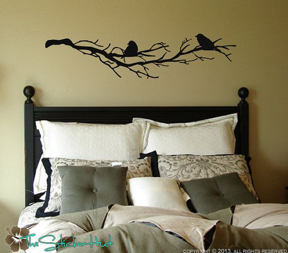 2 Birds on Bare Tree Branches Vinyl Home Decor Wall Art Stickers Decals Graphics 1549 via Etsy