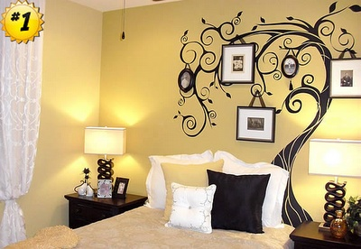 This wall mural with frames is actually a STICKER...not a painting