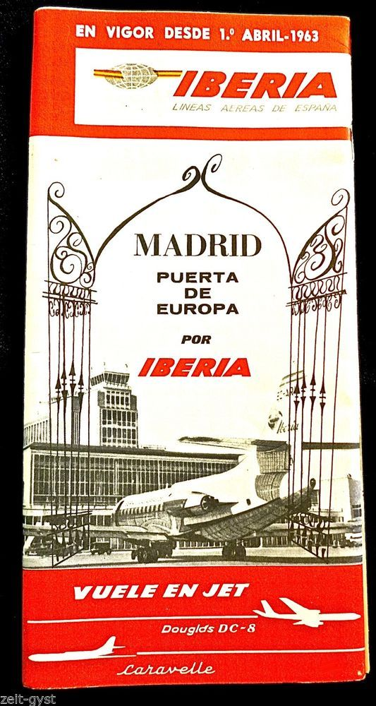 IBERIA  AIRLINES 1963 AIRLINE SYSTEM TIMETABLE SCHEDULE-51 PAGES-