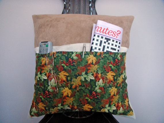 Pocket pillow Green Orange Red leaf pillow by ItsSewInspirational, £15.30